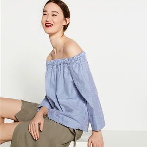 Zara striped off the shoulder shirts